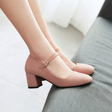Load image into Gallery viewer, Casual Square Toe Buckle Mary Janes Women's Chunkey Heeleded Pumps