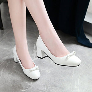 Lady Sweet Bow Knot Thick Heel Shallow Mouth Square Head Middle Heels Woman Pumps