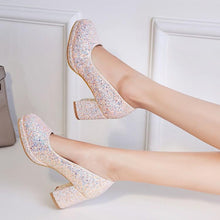 Load image into Gallery viewer, Sequined High Heeled Shallow Mouth Wedding Shoes