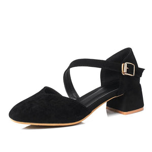 Buckle Strap Women's Pumps Middle Heeleded Shoes