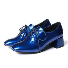 Load image into Gallery viewer, Lace Up Patent Leather Middle Heeleded Women Pumps