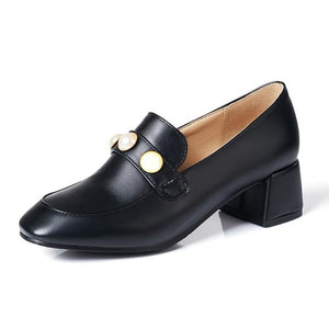 Lady Square Head Rough Heel Shallow-mouthed Student Single Shoe Woman Chunkey Pumps