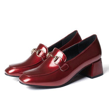 Load image into Gallery viewer, Patent Leather Square Toe Women's Chunkey Heeleded Pumps