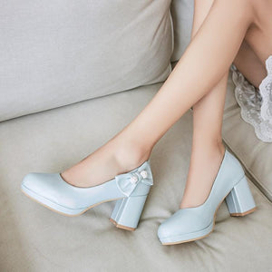 Woman's Pumps Butterfly Knot High Heeled Round Head