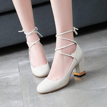 Load image into Gallery viewer, Round Head Shallow Mouth Large Size Women High Heeleds Pumps