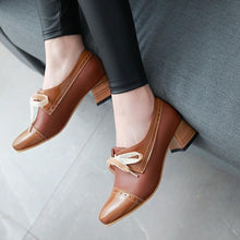 Load image into Gallery viewer, Lace Up Middle Heeled Round Head Colour Matching Leisure Women Chunkey Heeleded