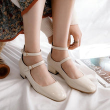 Load image into Gallery viewer, LadySquare Middle Heel Large Sizebuckle Woman Pumps