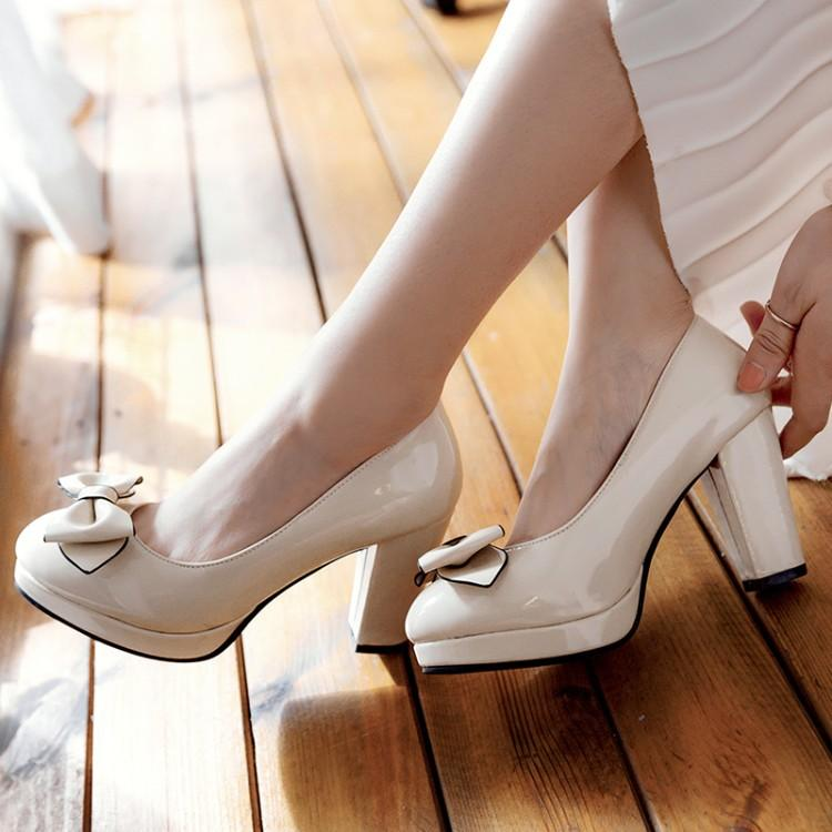 Woman's Pumps Bow High Heeled Shallow Mouth