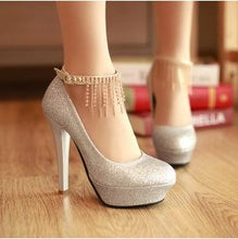 Load image into Gallery viewer, Sexy Super High Heel Rhinestone Tassel Shallow Mouth Wedding Shoes Women Pumps