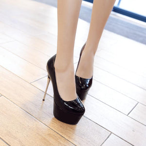 Sexy Super Stiletto Heel  Platform Pumps Round Head Nightclub Wedding Shoe