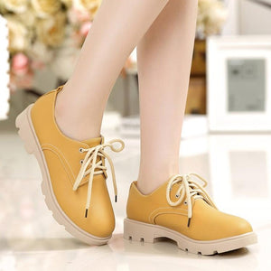 Girls's Lace Up Low Heeled Chunky Pumps Shoes