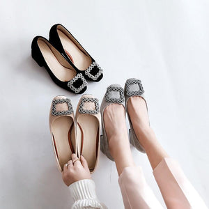 Lady Square Head Rhinestone Large Size Woman's Pumps Middle Heels Shoes