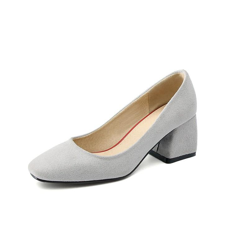 Leisure Square Head Middle Heeleded Shoe Women Chunkey Pumps