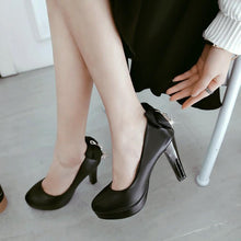 Load image into Gallery viewer, Sweet Butterfly Knot Super High Heeled Round Head Platform Pumps