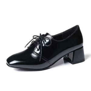 Lace Up Patent Leather Middle Heeleded Women Pumps