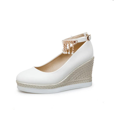 Casual Pearl Ankle Strap High Heel Shallow  Toe 33-43 Plus Size Platform Wedges Shoes Woman