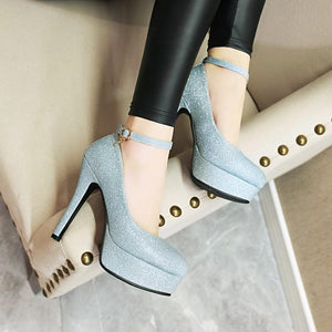 Ankle Strap Super High Heel Platform Women Pumps