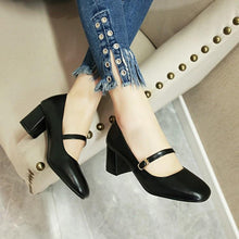 Load image into Gallery viewer, Lady Shallow Mouth Square Head Thick Heel Student Shoes Woman Chunkey Heels Pumps