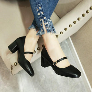 Lady Shallow Mouth Square Head Thick Heel Student Shoes Woman Chunkey Heels Pumps