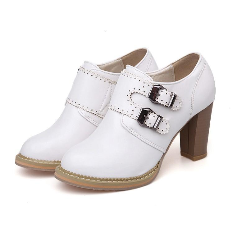 Rough-heeled High-heeled Oxford Shoes