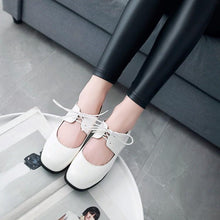 Load image into Gallery viewer, Woman's Shallow Square Head College Style Lace Up Low Heels Shoes