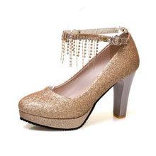 Load image into Gallery viewer, Sequins Crystal Rhinestone Pumps Platform High Heeleds Women Bride Shoes