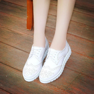 Girls Lace Up Breathable Oxfords Flat Shoes