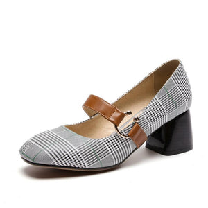 Women's Shallow-mouth Square Head Chunkey Heel Pumps