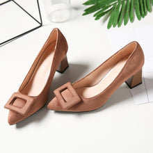 Load image into Gallery viewer, Woman's Pumps Pointed High Heeled Square Buckle