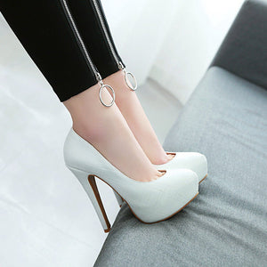 Sexy Ultra-Stiletto Heel  Thin-heeled Platform Shallow Mouth Pumps