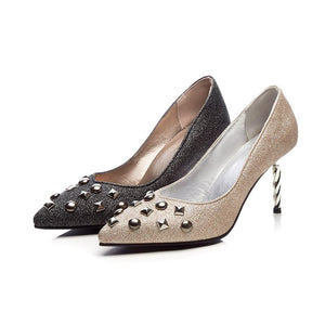Sexy Shallow Mouth High Heel with Rivet Bride Shoes Women Pumps