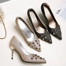 Load image into Gallery viewer, Sexy Shallow Mouth High Heel with Rivet Bride Shoes Women Pumps
