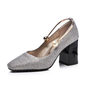Women's Pearl Buckle High Heeled Pumps with Sequins