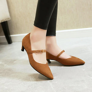 Pointed Toe Pumps Shallow Mouth Stiletto Heel Mid Heel Woman Shoes