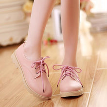 Load image into Gallery viewer, Girls's Lace Up Low Heeled Chunky Pumps Shoes