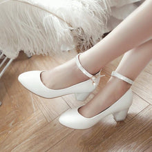 Load image into Gallery viewer, Lady Spring Autumn Ankle Strap Thick Heel Buckle Woman Chunkey Heels Pumps