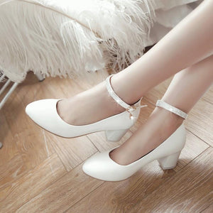Lady Spring Autumn Ankle Strap Thick Heel Buckle Woman Chunkey Heels Pumps