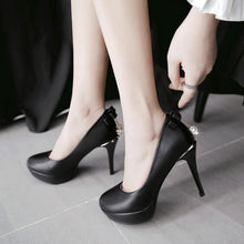Load image into Gallery viewer, Super Stiletto Heel  Sweet Bow Platform Pumps