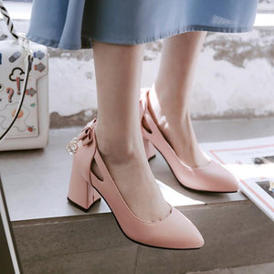 Pointed Toe High-heeled Bow Women Pumps