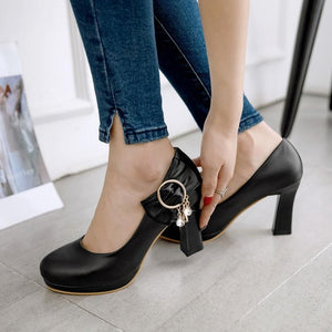 Woman's Pumps High-heeled Round Head with Bow
