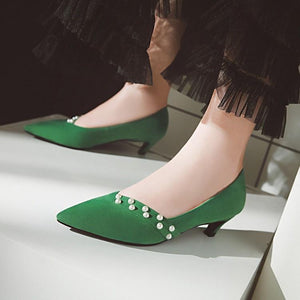 Pointed Toe Thin-heel Shallo Woman Pumps Stiletto Mid Heel Shoes