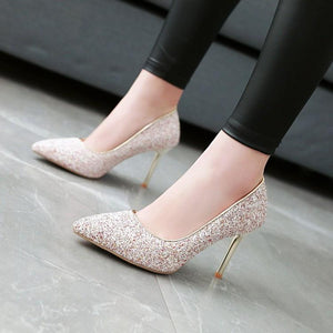 Sexy High Heel Pointed Toe Sequins Women Pumps