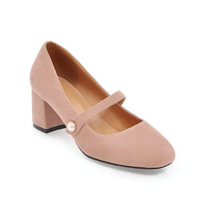 Lady Round Head Mary Janes Women's Chunkey Heels Pumps