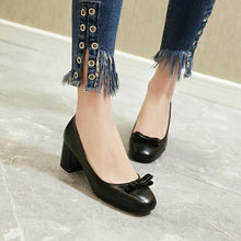 Load image into Gallery viewer, Lady Sweet Bow Knot Thick Heel Shallow Mouth Square Head Middle Heels Woman Pumps