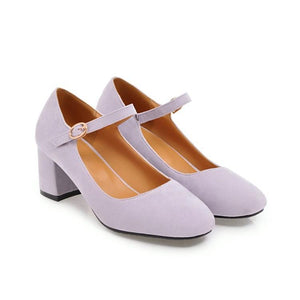 Casual Square Toe Buckle Mary Janes Women's Chunkey Heeleded Pumps