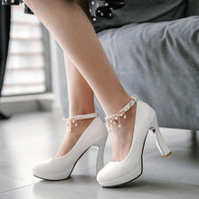 Load image into Gallery viewer, Women's Ankle Strap High Heeled Platform Pumps