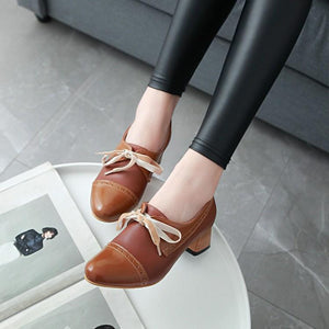Lace Up Middle Heeled Round Head Colour Matching Leisure Women Chunkey Heeleded