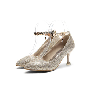 Women's Pointed High Heeleded Sequin Bridal Shoes Stiletto Pumps