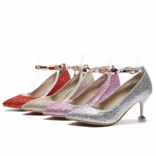 Load image into Gallery viewer, Women's Pointed High Heeleded Sequin Bridal Shoes Stiletto Pumps