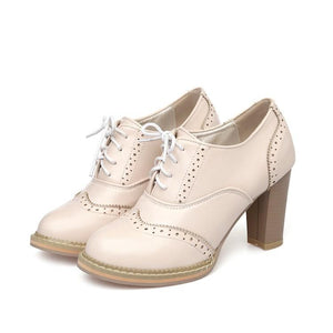 Women's Round Toe Lace Up High Heeled s Oxford Shoes